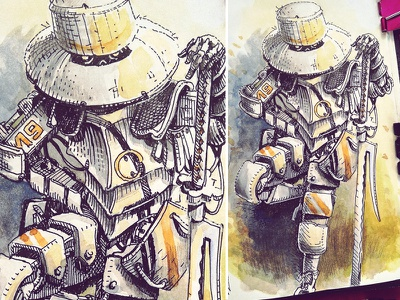 March of Robots '18 #19 watercolor illustration graphic robot mech drawing ink cross hatching concept art character design