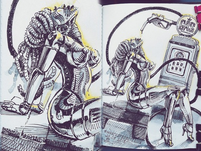 March of Robots '18 #12 watercolor mech cross hatching ink drawing character design concept art robot