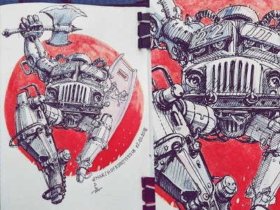 March of Robots '18 #22 watercolor mech cross hatching ink drawing character design concept art robot