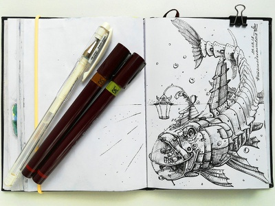 March of Robots '18 #24 mech cross hatching ink drawing character design concept art robot