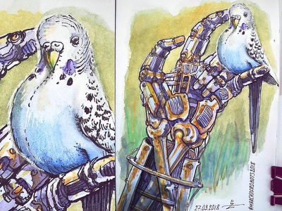March of Robots '18 #27 watercolor mech cross hatching ink drawing character design concept art robot