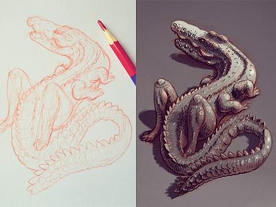 Sketch and quick digital coloring cg digital art character design concept art