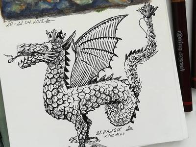 sketched this dragon and simbol of Kazan during my trip