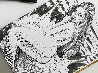 Mermay 01 mermaid cross hatching ink drawing character design concept art mermay