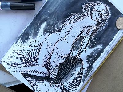 Mermay 02 mermaid cross hatching ink drawing character design concept art mermay