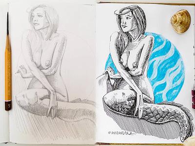 Mermay 04 mermaid cross hatching ink drawing character design concept art mermay