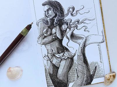 Mermay 08 mermaid cross hatching ink drawing character design concept art mermay