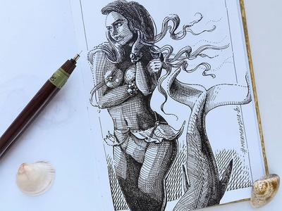 Mermay 08 mermaid cross hatching ink drawing character design concept art mermay