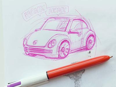 quick and simple doodle sketch car beetle ballpoint pen bic4 doodle