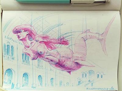 Mermay 11 in natural history museum mermaid cross hatching ink drawing character design concept art mermay