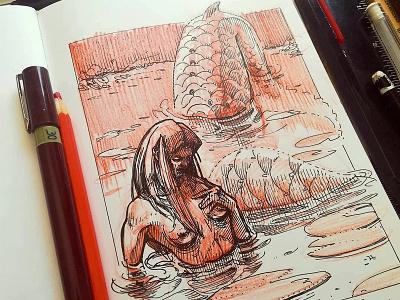 Mermay 12 mermaid cross hatching ink drawing character design concept art mermay
