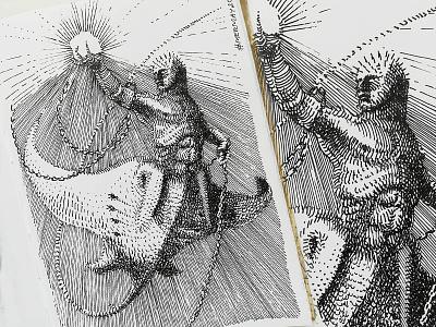 Marmay 17 Pinhead manta mermaid cross hatching ink drawing character design concept art mermay