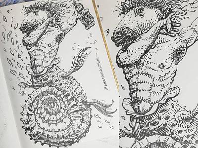 Mermay 18 mermaid cross hatching ink drawing character design concept art mermay
