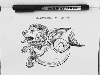 Mermay 20 mermaid cross hatching ink drawing character design concept art mermay