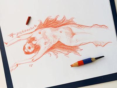 Mermay 21 mermaid cross hatching ink drawing character design concept art mermay