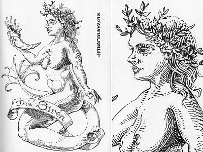 Mermay 24 mermaid cross hatching ink drawing character design concept art mermay