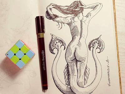 Mermay 28 mermaid cross hatching ink drawing character design concept art mermay