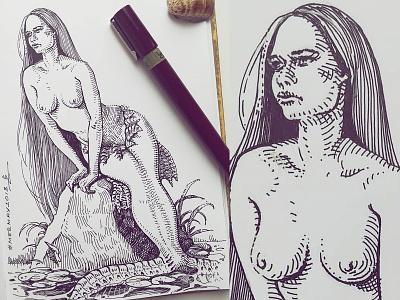 Mermay 29 mermaid cross hatching ink drawing character design concept art mermay