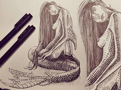 Mermay 30 mermaid cross hatching ink drawing character design concept art mermay
