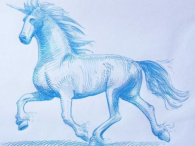 1st born unicorn sketch unicorn horse ballpoint pen bic4 doodle