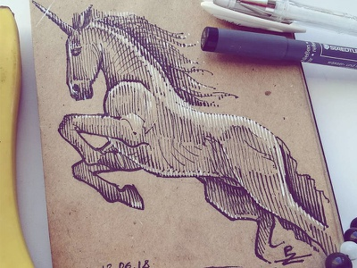 This time on craft paper crosshatching woodcut engraving micronpen sketch unicorn horse fine liner doodle