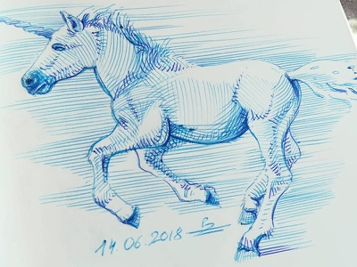 Little and quick one sketch unicorn horse ballpoint pen bic4 doodle