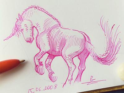 Quick doodle sketch unicorn horse ballpoint pen bic4 doodle