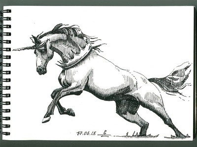 fineliner crosshatching woodcut engraving micronpen sketch unicorn horse fine liner doodle