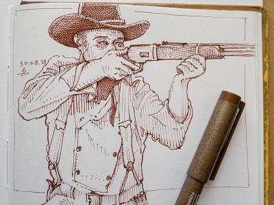 daily sketch traditional art sketchbook inkdrawing cowboy drawing sketch