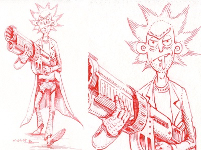 Drooling rick and morty sketching inktober cross hatching gravure hatching editorial engraving sketch drawing etching woodcut graphic ink illustration