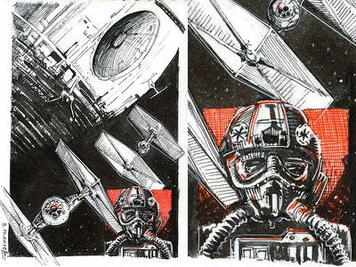 Death ⭐️ tie fighter death star inktober star wars sketch drawing graphic ink illustration