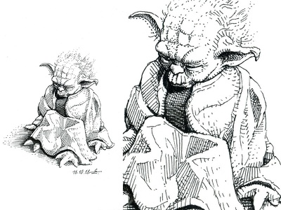 """""""soon will I rest, yes, forever sleep"""" Yoda yoda star wars sketching ink drawing black and white cross hatching inktober gravure hatching engraving sketch drawing etching woodcut graphic ink illustration"""