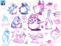Some sketches and finished sprite of the little 🐧🍦