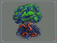 Nidhogg eat roots of Yggdrasil 8bit saga