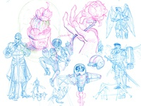"Doodles for ""flower"", ""random RPG character"""