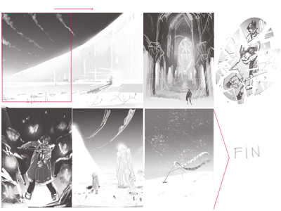 Storyboard 3 gamedev movie story board concept art sketch drawing graphic illustration