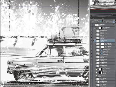 Proceeding work with storyboard illustration sketching car action trailer movie gamedev digital art sketch storybording storyboard