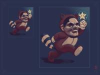 Reggie as Mario in racoon suit