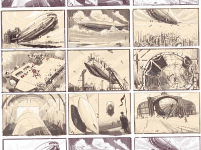 Airship sketches wip story illustration gamedev storyboarging storyboard environment art concept art dirigible airship drawing sketching sketch
