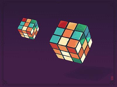 Simple as Rubik's Cube puzzle oldschool 80s style illustration rubiks cube pixels pixel artist pixel art retro gaming 16bit 8bit