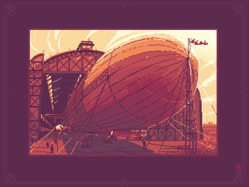 Ready to take off sprite gamedev pixel dailies pixel-dailies 16bit 8bit etching hatching illustration pixelart pixel pixel art dirigible airship