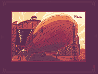 Ready to take off sprite gamedev pixel dailies pixel-dailies 16bit 8bit etching hatching illustration pixelart pixel pixel art dirigible airship