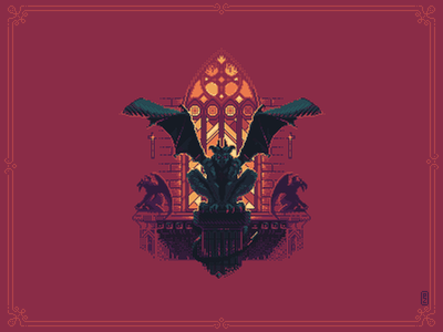 Gargoyle gothic gargoyle sprite 16bit 8bit pixel dailies pixel-dailies gamedev illustration pixel art pixelart pixel