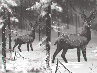 Storyboard 9 art environment concept art character design winter forest snow deer stag drawing sketching sketch story illustration animatic storyboarding storyboard