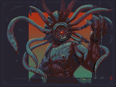 Cthulhu the Old ones pixel dailies concept sprite character design gamedev 16bit pixel art pixelart 8bit illustration cthulhu