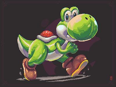 Yoshi sprite aseprite characterdesign cartoon dragon dinosaur yoshi nintendo snes retro gaming 16bit 8bit pixel art pixel dailies pixel-dailies pixelart