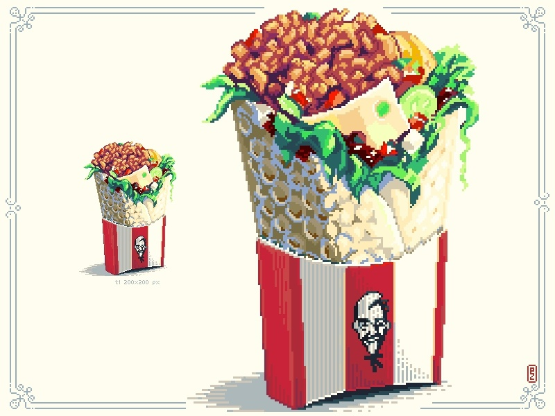 "KFC Wrap ""Boxmaster"" colonel sanders snack retro gaming gamedev food wrap aseprite sprite 16bit 8bitart kfc pixel-dailies pixelart junkfood"