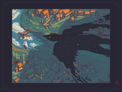 Night falls bird river city town environment design concept art gameart gamedev sprite aseprite pixel dailies pixel-dailies pixelart pixel art illustration landscape night
