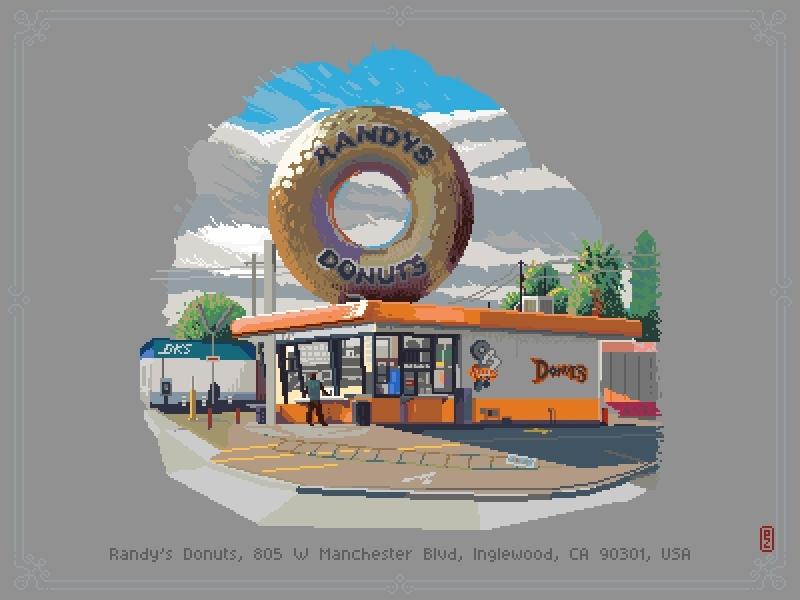 Randys Donuts aseprite sprite concept art gamedev retro art pixels pixel 8bit 16bit 8bitart pixelart virtual plein air urban sketching lanscape doughnut plein air