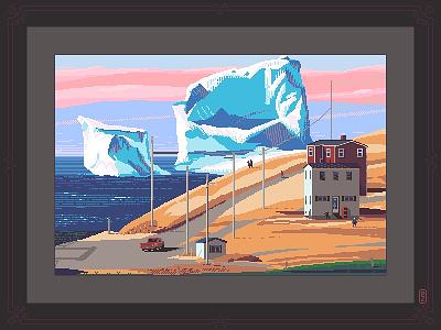 When icebergs come to town sea gamedev pixels 8bit environmental design pixel dailies pixel-dailies pixelart landscape iceberg